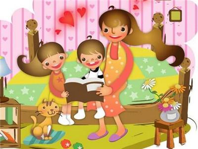 卡通小孩子读书