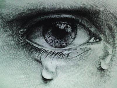 老人哭泣的眼睛手绘