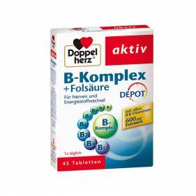 德国 Doppelherz/双心 天然VB族+叶酸营养片 45片*盒